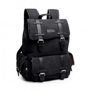 mochila de coton algodon canvas negro